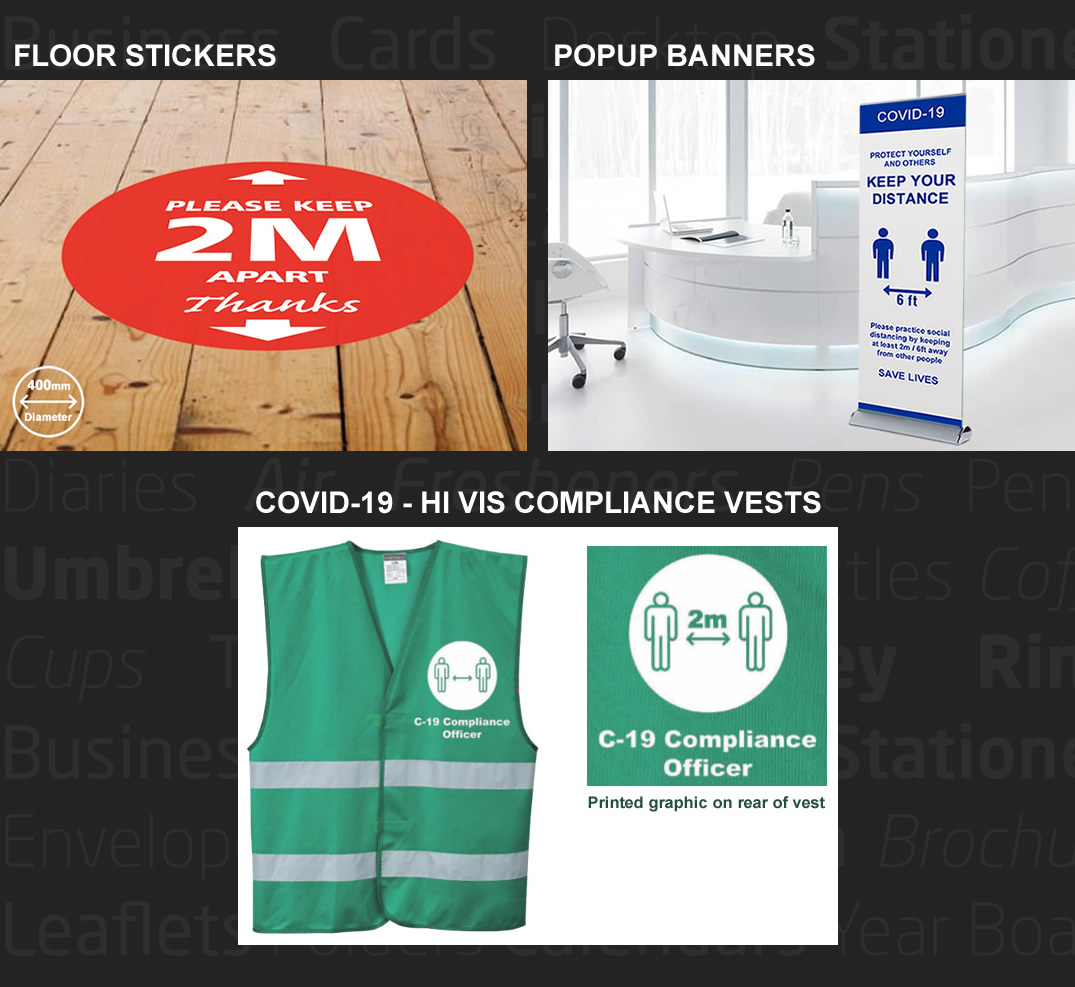 COVID-19 Signage, Social Distance Floor Stickers, Popup Banners and COVID-19 Compliance Vests - Northern Ireland